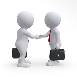 Graphic business men shaking hands